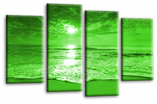 Sunset Seascape Canvas Picture Wall Art Beach Print Green Cream